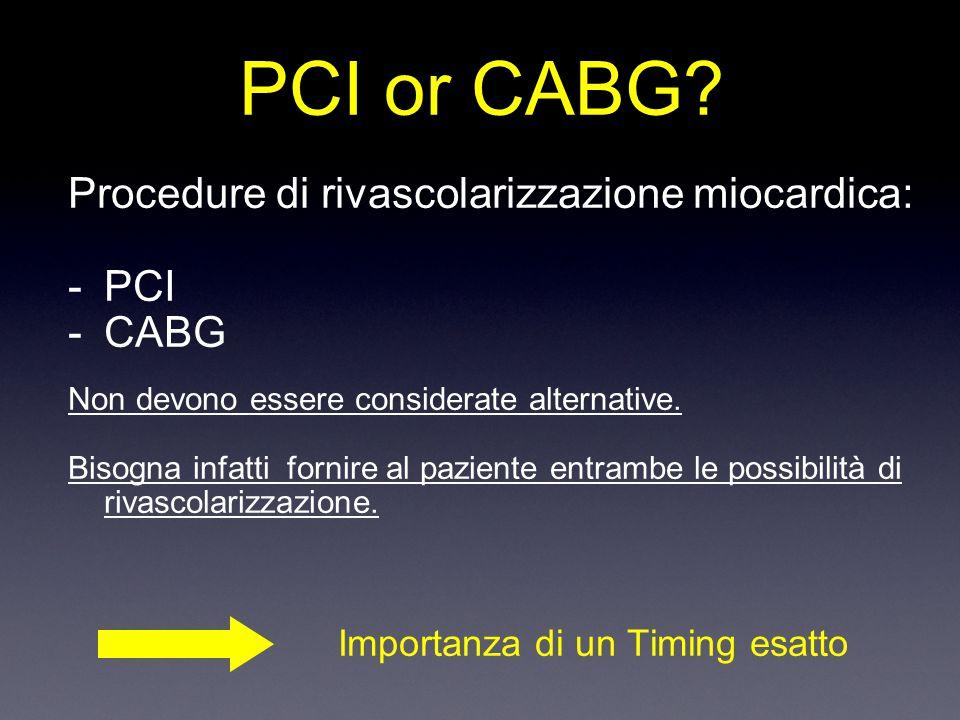 Procedure di rivascolarizzazione miocardica: -PCI -CABG Non devono essere considerate alternative.