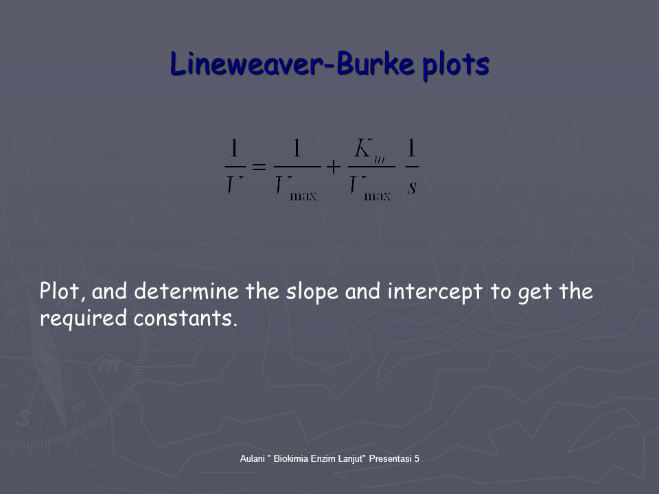 Aulani Biokimia Enzim Lanjut Presentasi 5 Lineweaver-Burke plots Plot, and determine the slope and intercept to get the required constants.