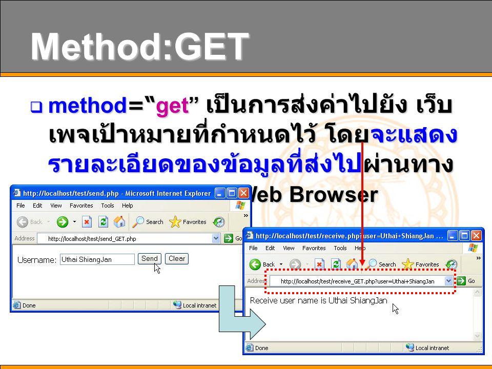 23 Method:GET  method= get เป็นการส่งค่าไปยัง เว็บ เพจเป้าหมายที่กำหนดไว้ โดยจะแสดง รายละเอียดของข้อมูลที่ส่งไปผ่านทาง Address Bar ของ Web Browser