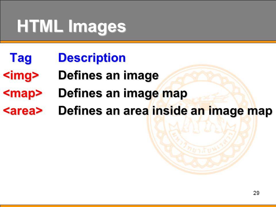 29 HTML Images Tag Description Tag Description Defines an image Defines an image Defines an image map Defines an image map Defines an area inside an image map Defines an area inside an image map