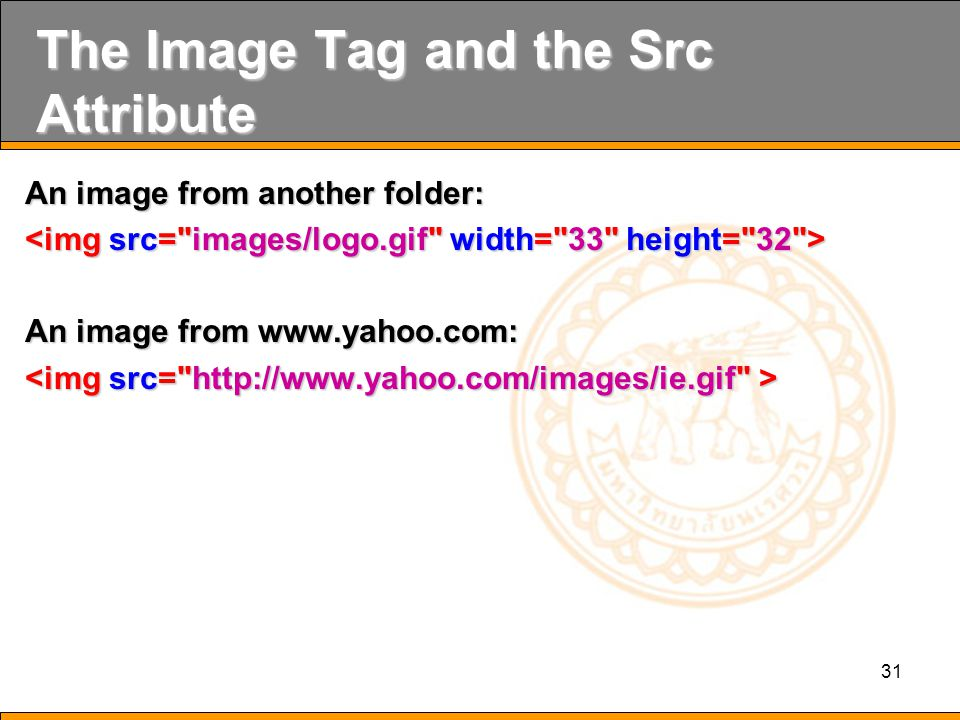 31 The Image Tag and the Src Attribute An image from another folder: An image from www.yahoo.com: