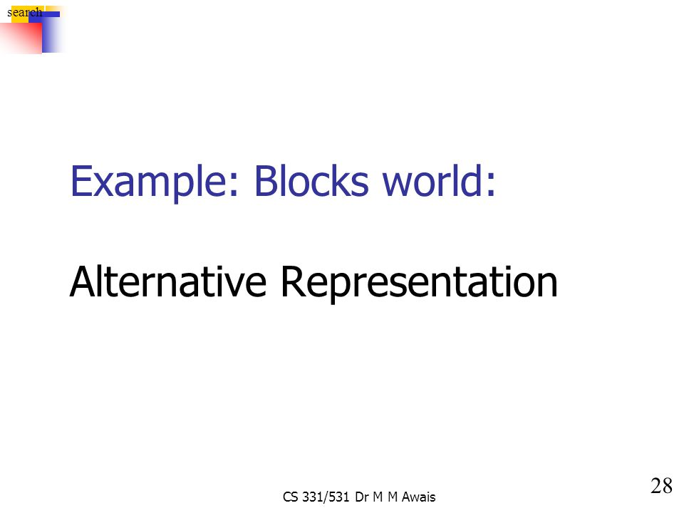 28 search CS 331/531 Dr M M Awais Example: Blocks world: Alternative Representation