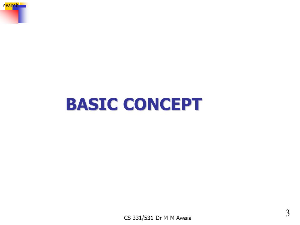 3 search CS 331/531 Dr M M Awais BASIC CONCEPT