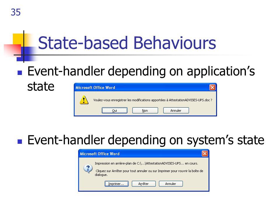 35 State-based Behaviours Event-handler depending on application's state Event-handler depending on system's state
