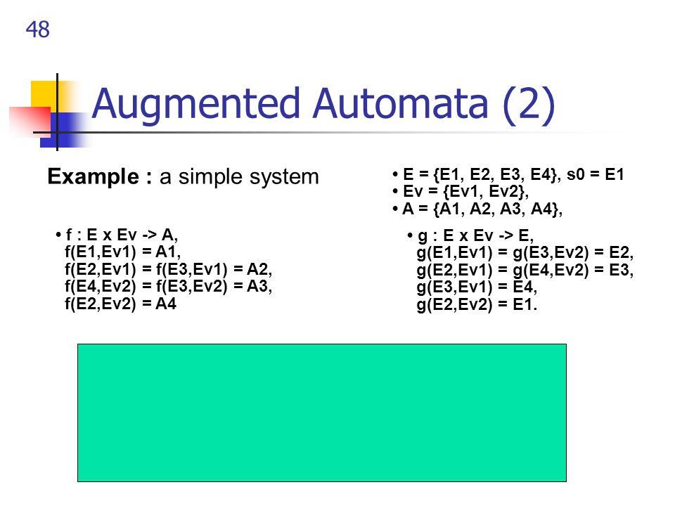 48 Augmented Automata (2) Example : a simple system g : E x Ev -> E, g(E1,Ev1) = g(E3,Ev2) = E2, g(E2,Ev1) = g(E4,Ev2) = E3, g(E3,Ev1) = E4, g(E2,Ev2)