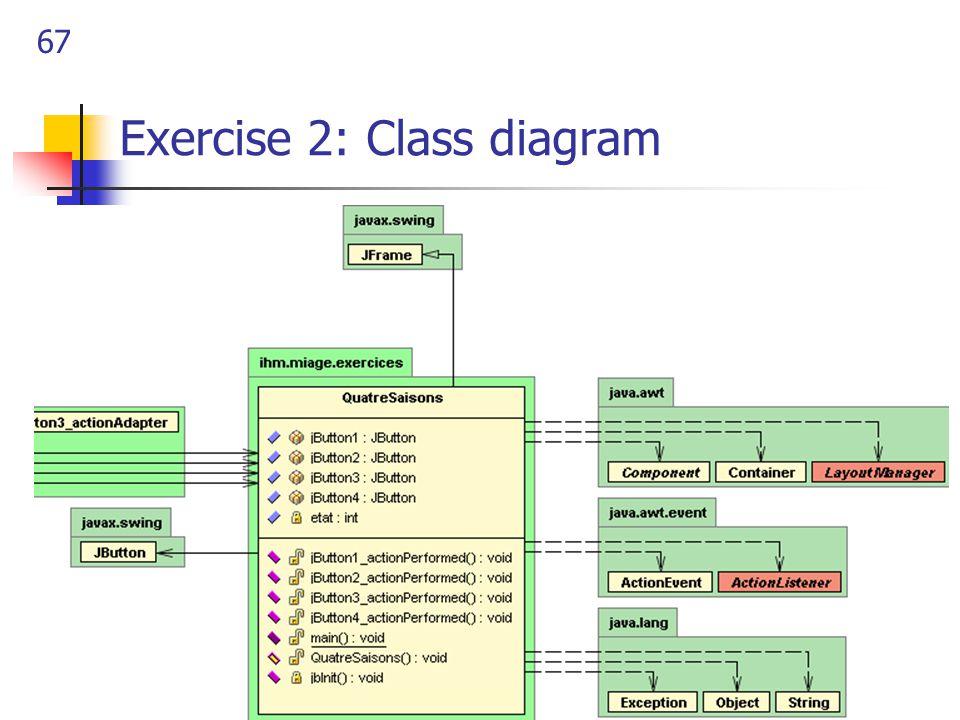 67 Exercise 2: Class diagram