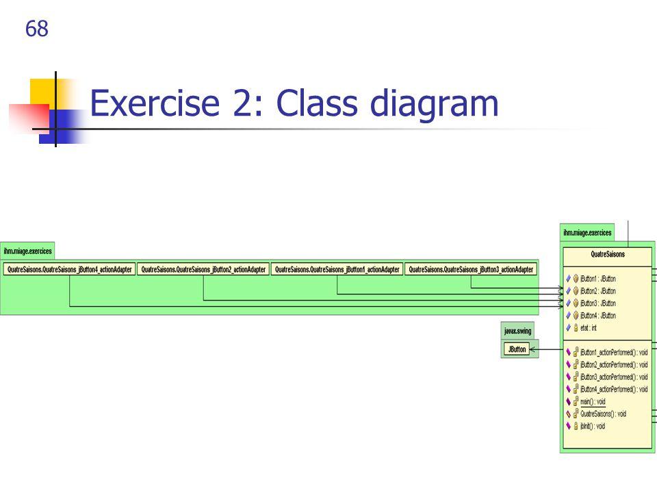 68 Exercise 2: Class diagram