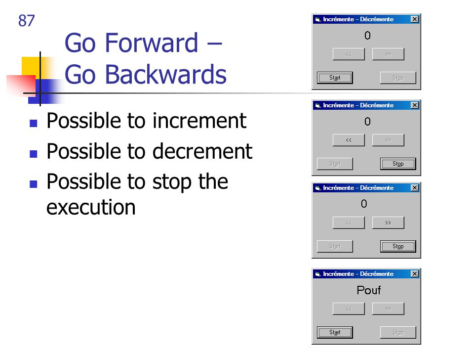 87 Go Forward – Go Backwards Possible to increment Possible to decrement Possible to stop the execution