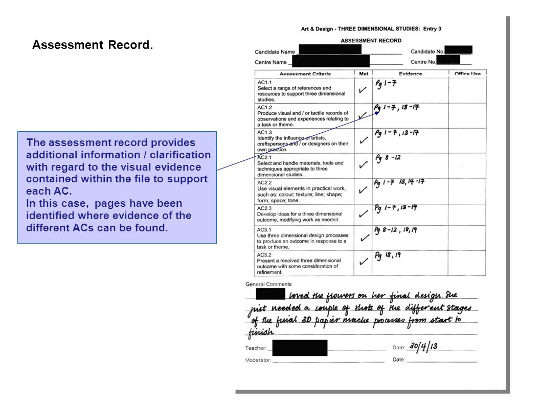 Assessment Record.