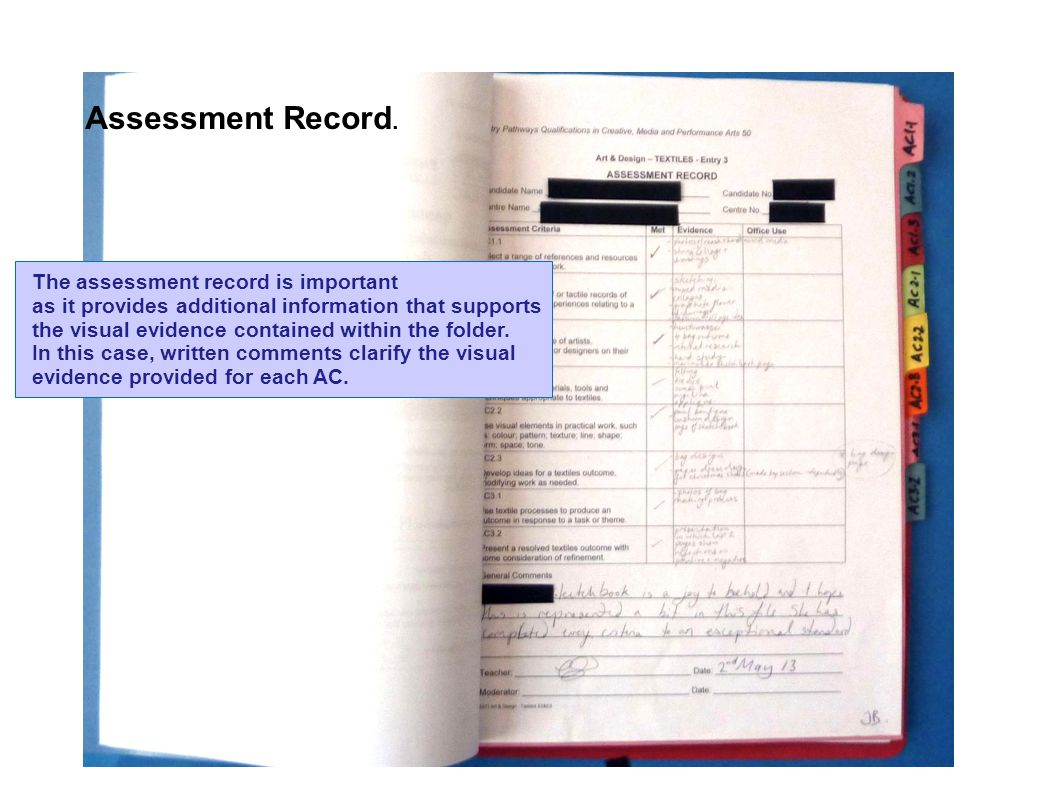 The assessment record is important as it provides additional information that supports the visual evidence contained within the folder.