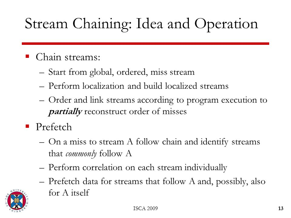 ISCA 200913 Stream Chaining: Idea and Operation  Chain streams: –Start from global, ordered, miss stream –Perform localization and build localized streams –Order and link streams according to program execution to partially reconstruct order of misses  Prefetch –On a miss to stream A follow chain and identify streams that commonly follow A –Perform correlation on each stream individually –Prefetch data for streams that follow A and, possibly, also for A itself