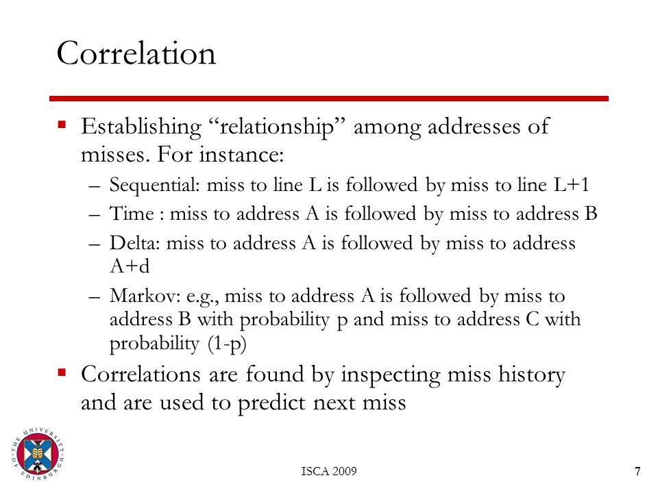 ISCA 20097 Correlation  Establishing relationship among addresses of misses.