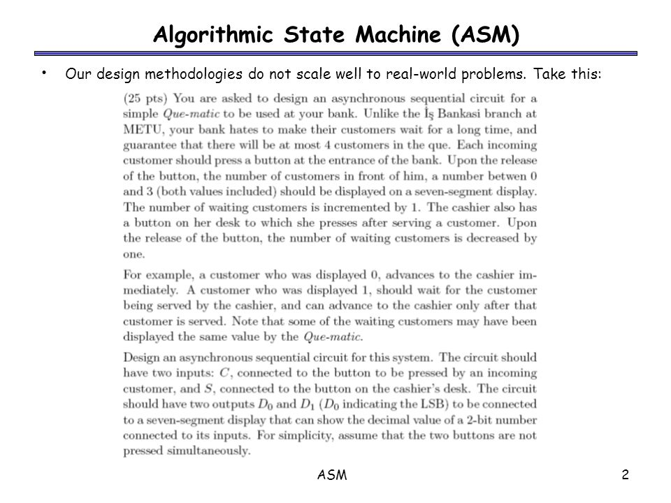 ASM3 Algorithmic State Machine (ASM) ‏ Procedure for implementing a problem with a given piece of equipment.