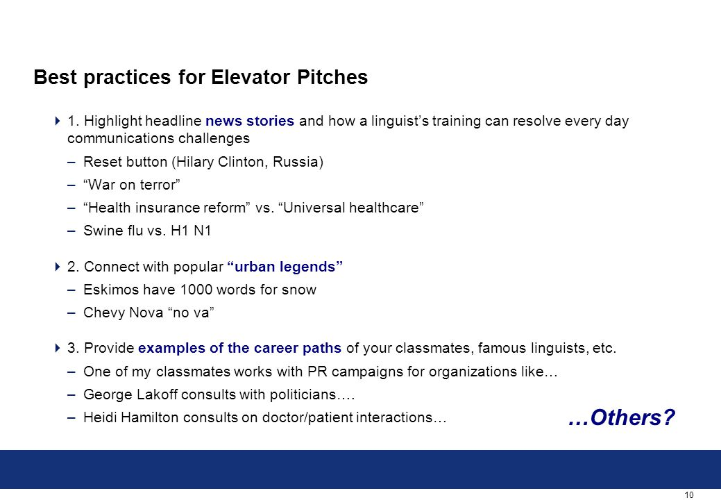 10 Best practices for Elevator Pitches  1.