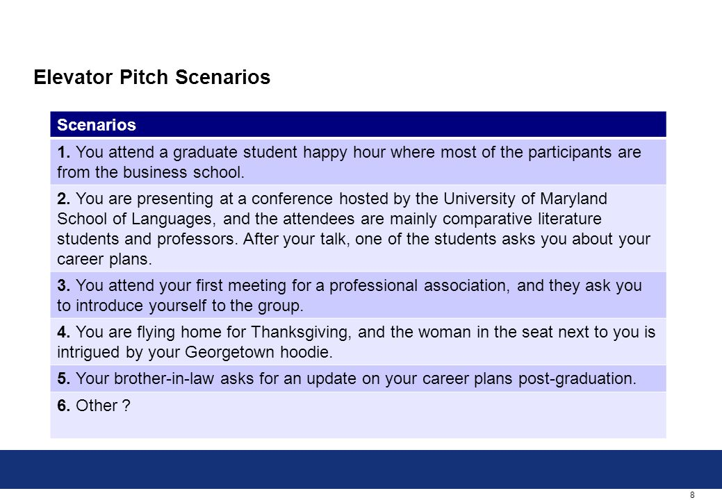 8 Elevator Pitch Scenarios Scenarios 1. You attend a graduate student happy hour where most of the participants are from the business school. 2. You a