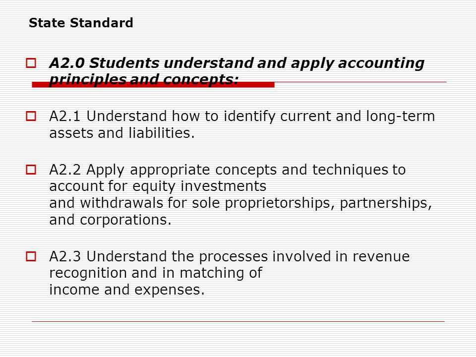  A2.0 Students understand and apply accounting principles and concepts:  A2.1 Understand how to identify current and long-term assets and liabilities.