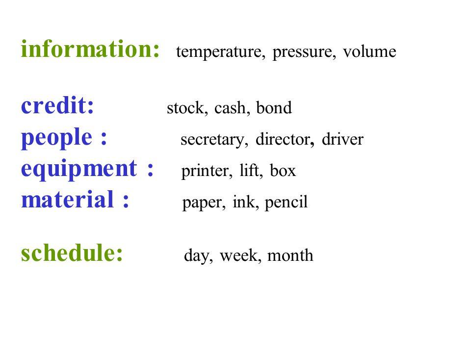 information: temperature, pressure, volume credit: stock, cash, bond people : secretary, director, driver equipment : printer, lift, box material : paper, ink, pencil schedule: day, week, month