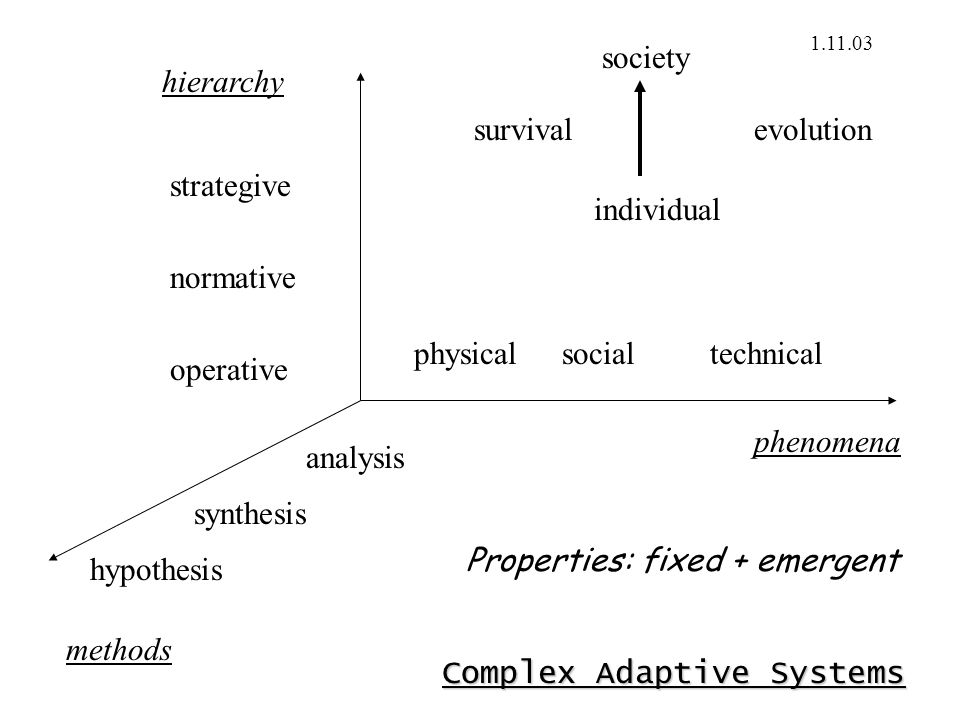 Complex Adaptive Systems physicalsocial methods analysis synthesis technical hypothesis strategive normative operative hierarchy phenomena individual society survivalevolution 1.11.03 Properties: fixed + emergent