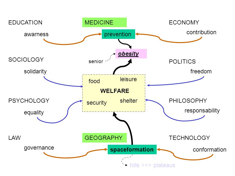 PHILOSOPHY GEOGRAPHY MEDICINEECONOMY TECHNOLOGY POLITICS EDUCATION spaceformation prevention conformation contribution responsability awarness governance LAW PSYCHOLOGY SOCIOLOGY WELFARE food shelter security leisure freedom equality solidarity obesity hills >>> plateaus senior
