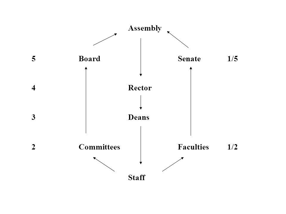 Assembly 5BoardSenate1/5 4Rector 3Deans 2CommitteesFaculties1/2 Staff
