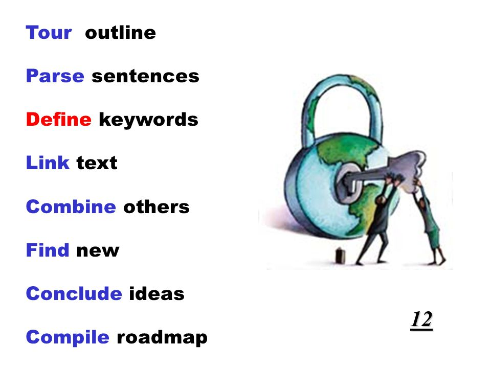 Tour outline Parse sentences Define keywords Link text Combine others Find new Conclude ideas Compile roadmap 12