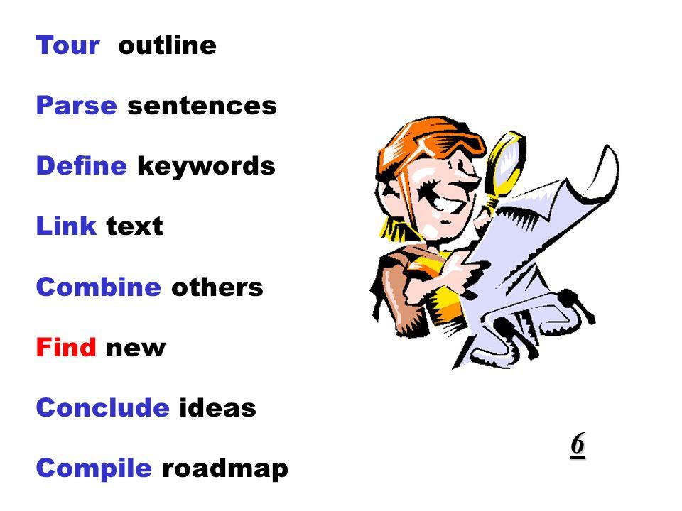 Tour outline Parse sentences Define keywords Link text Combine others Find new Conclude ideas Compile roadmap 6