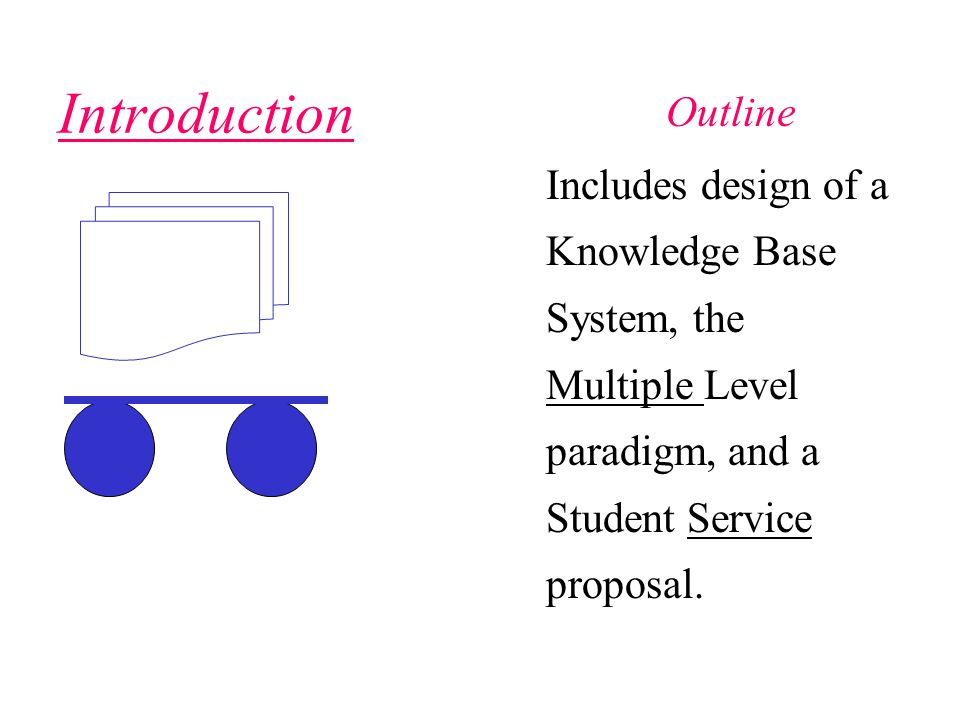 Outline Introduction Includes design of a Knowledge Base System, the Multiple Level paradigm, and a Student Service proposal.