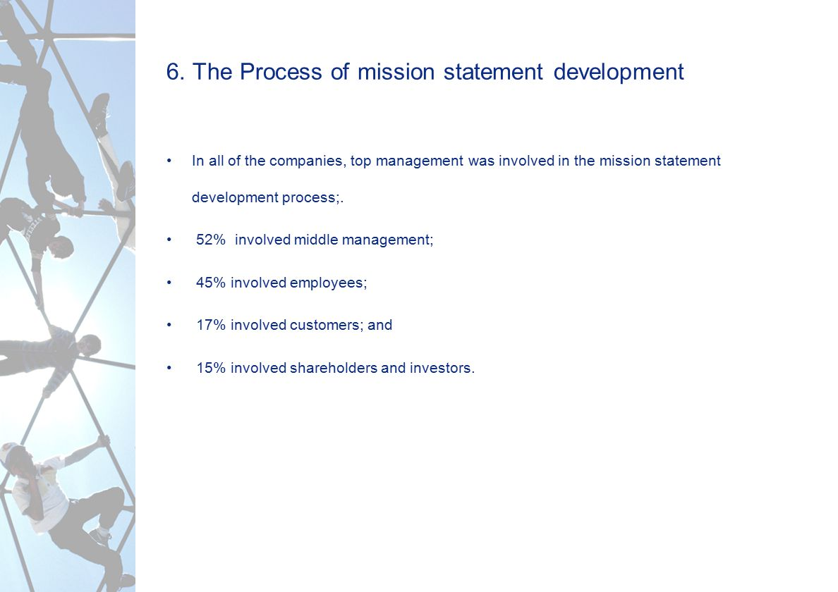 6. The Process of mission statement development In all of the companies, top management was involved in the mission statement development process;. 52