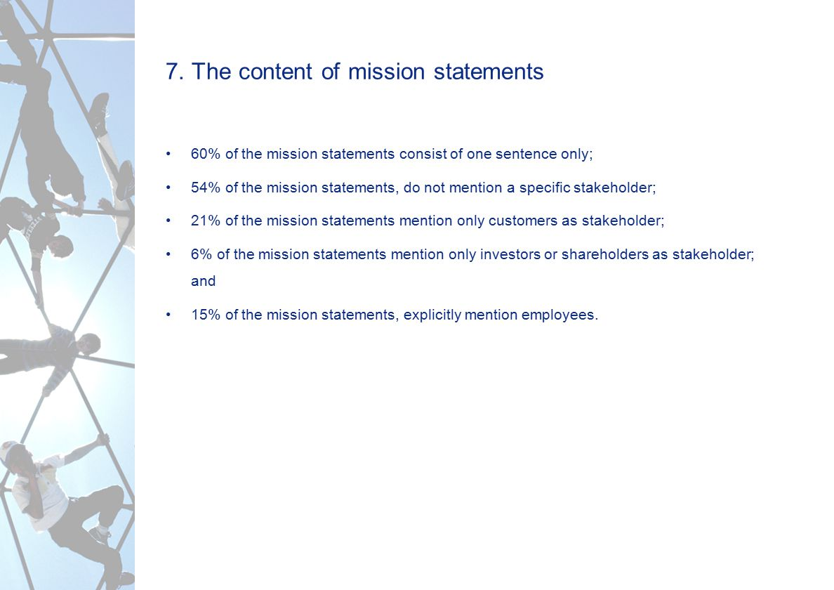 7. The content of mission statements 60% of the mission statements consist of one sentence only; 54% of the mission statements, do not mention a speci