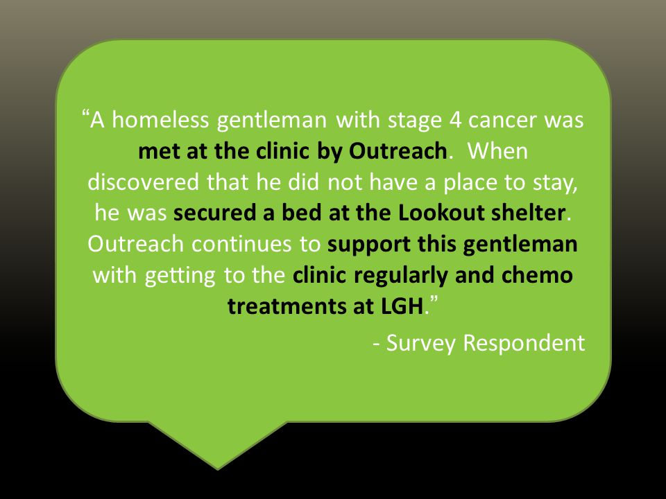 A homeless gentleman with stage 4 cancer was met at the clinic by Outreach.