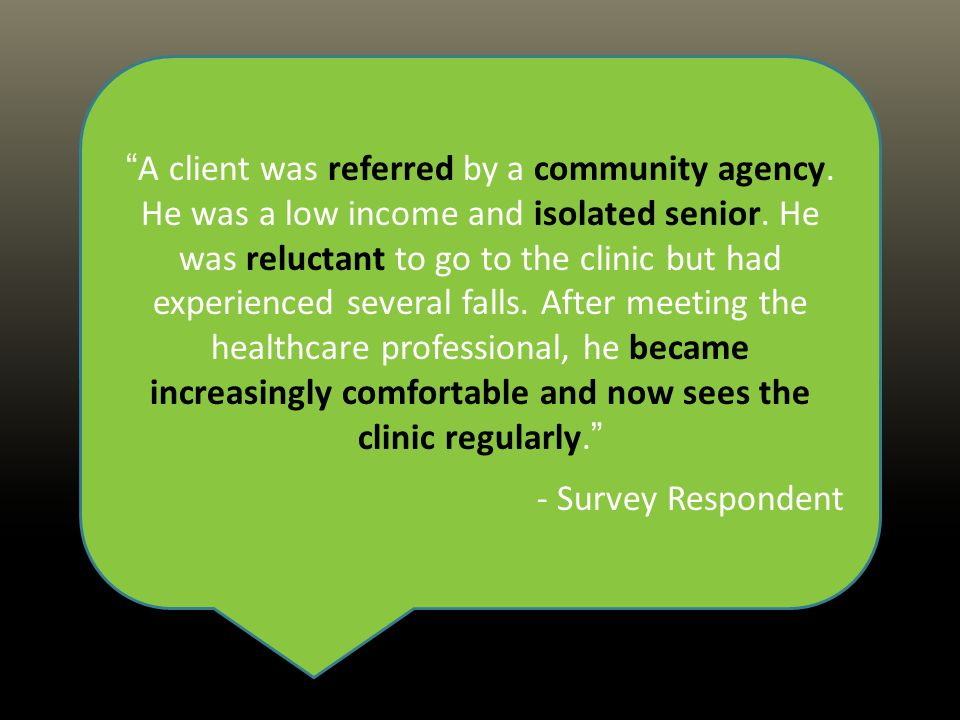 A client was referred by a community agency. He was a low income and isolated senior.