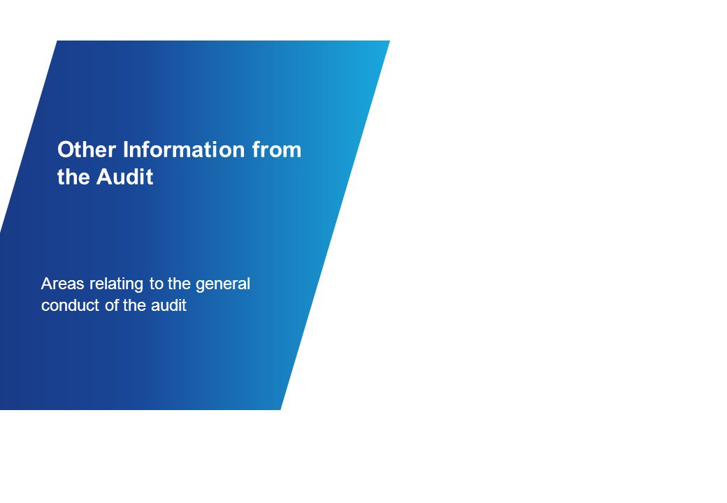 Other Information from the Audit Areas relating to the general conduct of the audit