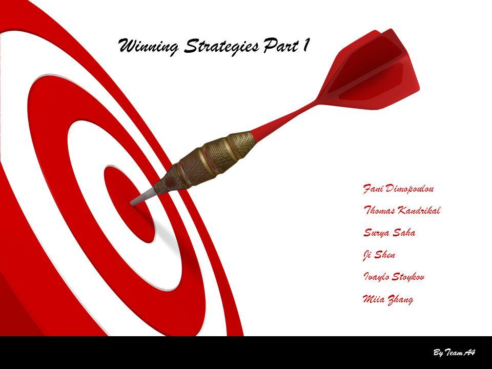 By Team A4 Fani Dimopoulou Thomas Kandrikal Surya Saha Ji Shen Ivaylo Stoykov Miia Zhang Winning Strategies Part 1