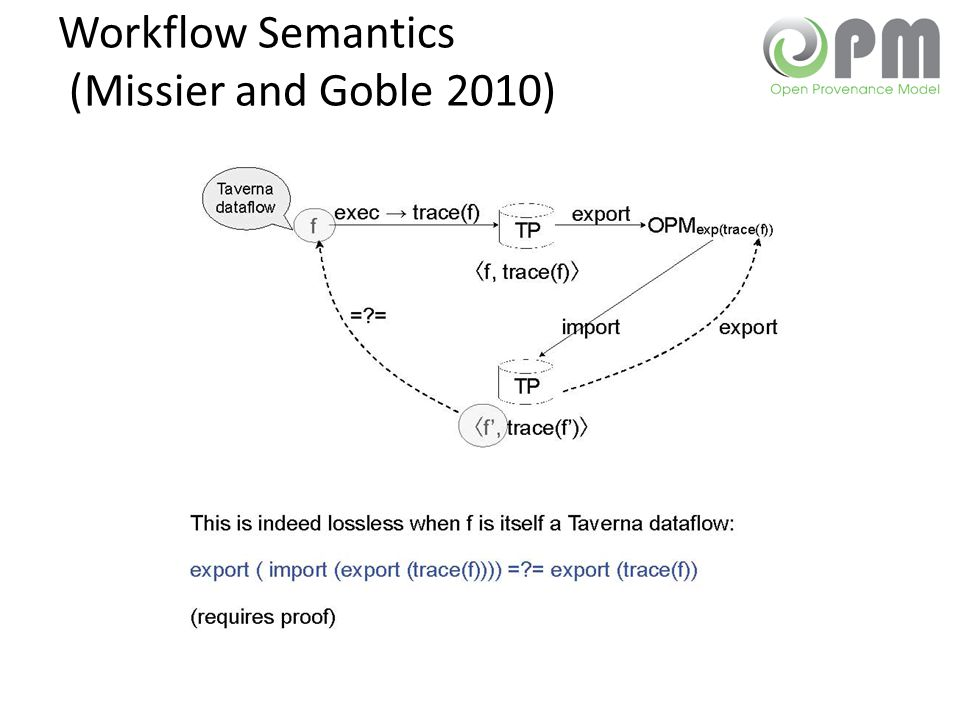 Workflow Semantics (Missier and Goble 2010)