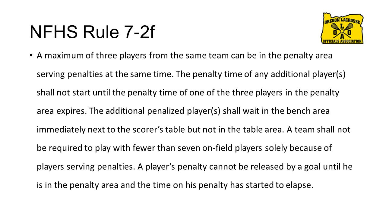 NFHS Rule 7-2f A maximum of three players from the same team can be in the penalty area serving penalties at the same time. The penalty time of any ad