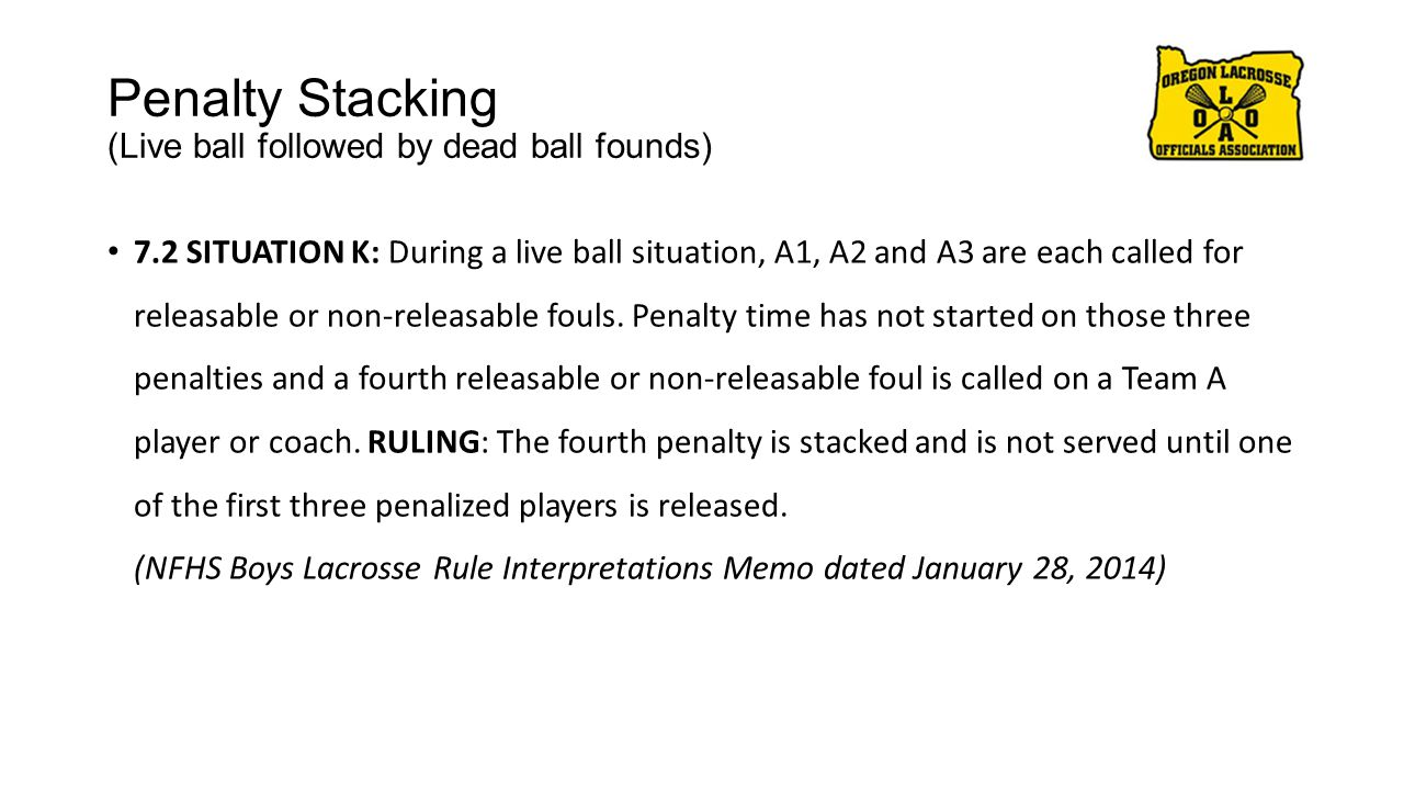 Penalty Stacking (Live ball followed by dead ball founds) 7.2 SITUATION K: During a live ball situation, A1, A2 and A3 are each called for releasable