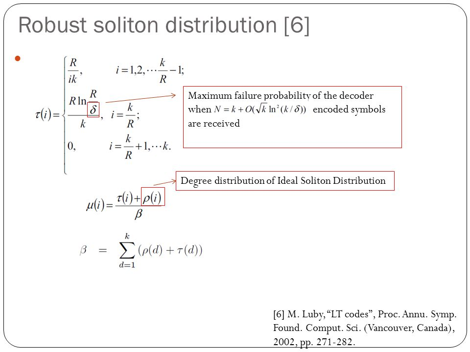 Robust soliton distribution [6] Degree distribution of Ideal Soliton Distribution Maximum failure probability of the decoder when encoded symbols are