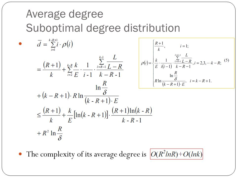 Average degree Suboptimal degree distribution The complexity of its average degree is