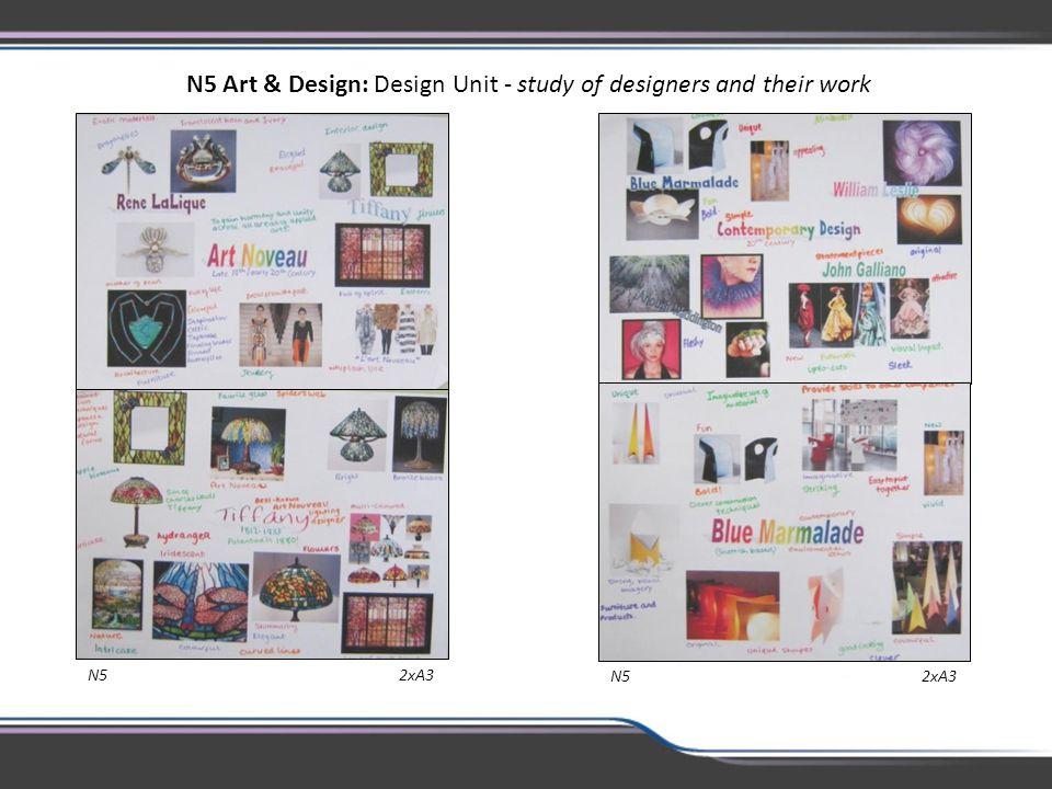 N5 2xA3 N5 Art & Design: Design Unit - study of designers and their work