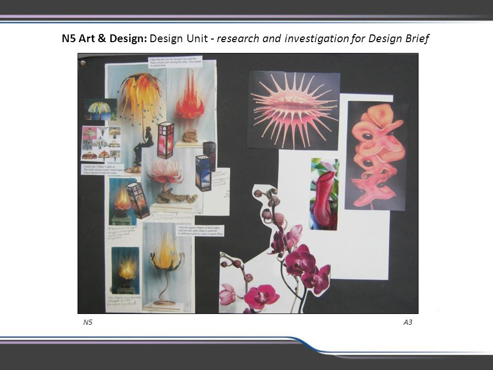 N5 Art & Design: Design Unit - research and investigation for Design Brief N5 A3