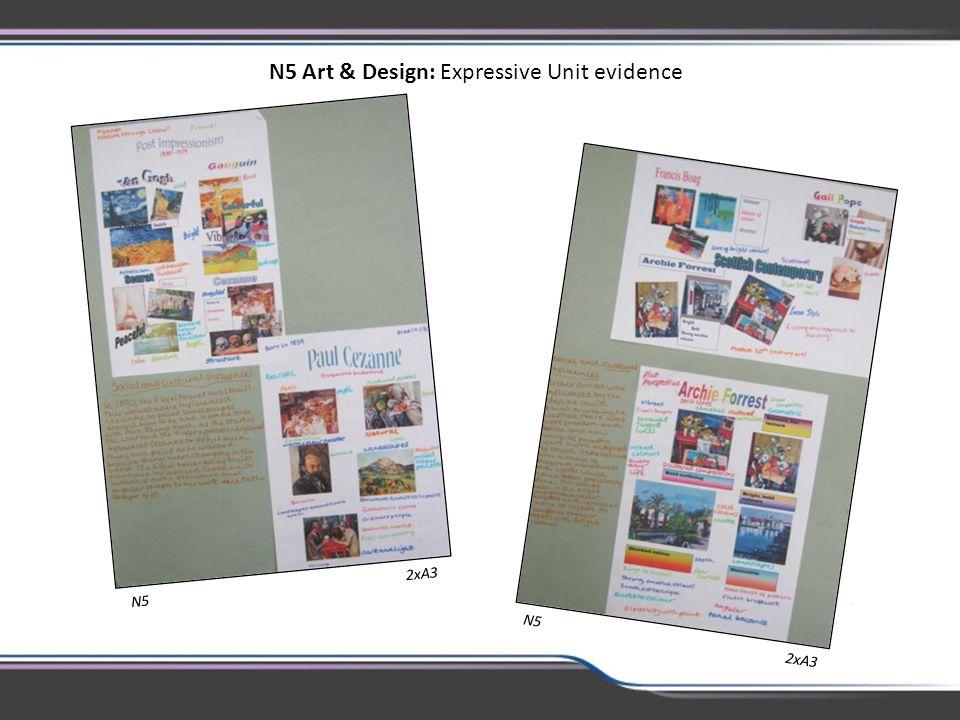 N5 Art & Design: Expressive Unit evidence N5 2xA3