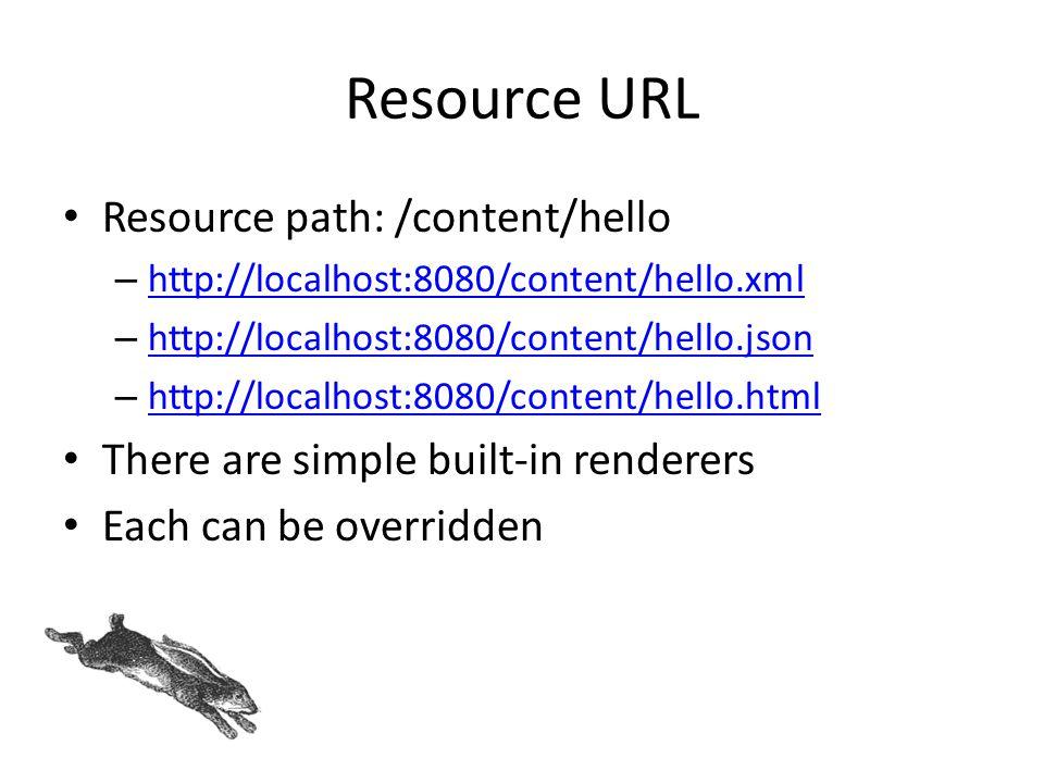 Resource URL Resource path: /content/hello – http://localhost:8080/content/hello.xml http://localhost:8080/content/hello.xml – http://localhost:8080/c