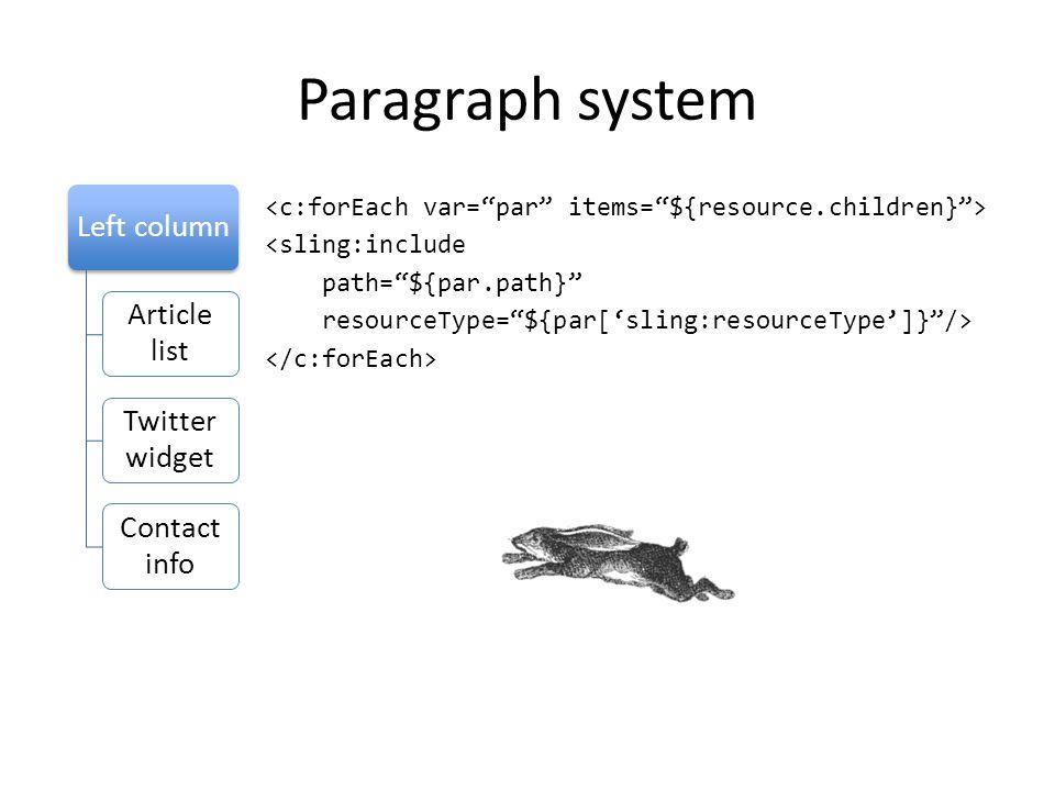"Paragraph system <sling:include path=""${par.path}"" resourceType=""${par['sling:resourceType']}""/> Left column Article list Twitter widget Contact info"