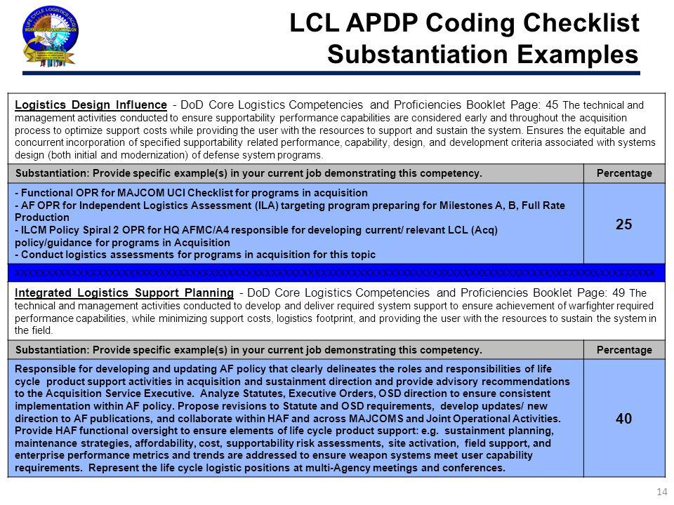 LCL APDP Coding Checklist Substantiation Examples 14 Logistics Design Influence - DoD Core Logistics Competencies and Proficiencies Booklet Page: 45 T