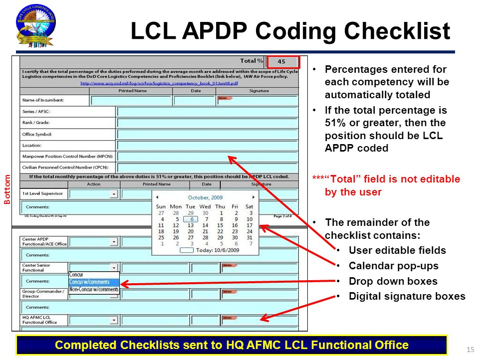 LCL APDP Coding Checklist 15 Percentages entered for each competency will be automatically totaled If the total percentage is 51% or greater, then the
