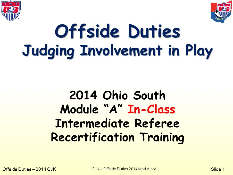 Slide 1 Offside Duties – 2014 CJK Offside Duties Judging Involvement in Play 2014 Ohio South Module A In-Class Intermediate Referee Recertification Training CJK – Offside Duties 2014 Mod A.ppt