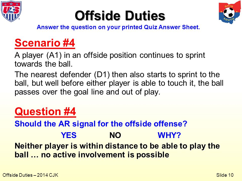 Slide 10 Offside Duties – 2014 CJK Scenario #4 A player (A1) in an offside position continues to sprint towards the ball.
