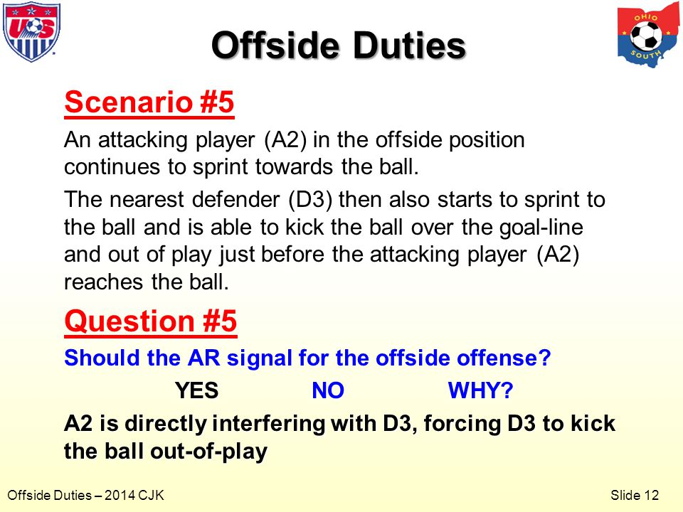 Slide 12 Offside Duties – 2014 CJK Scenario #5 An attacking player (A2) in the offside position continues to sprint towards the ball.