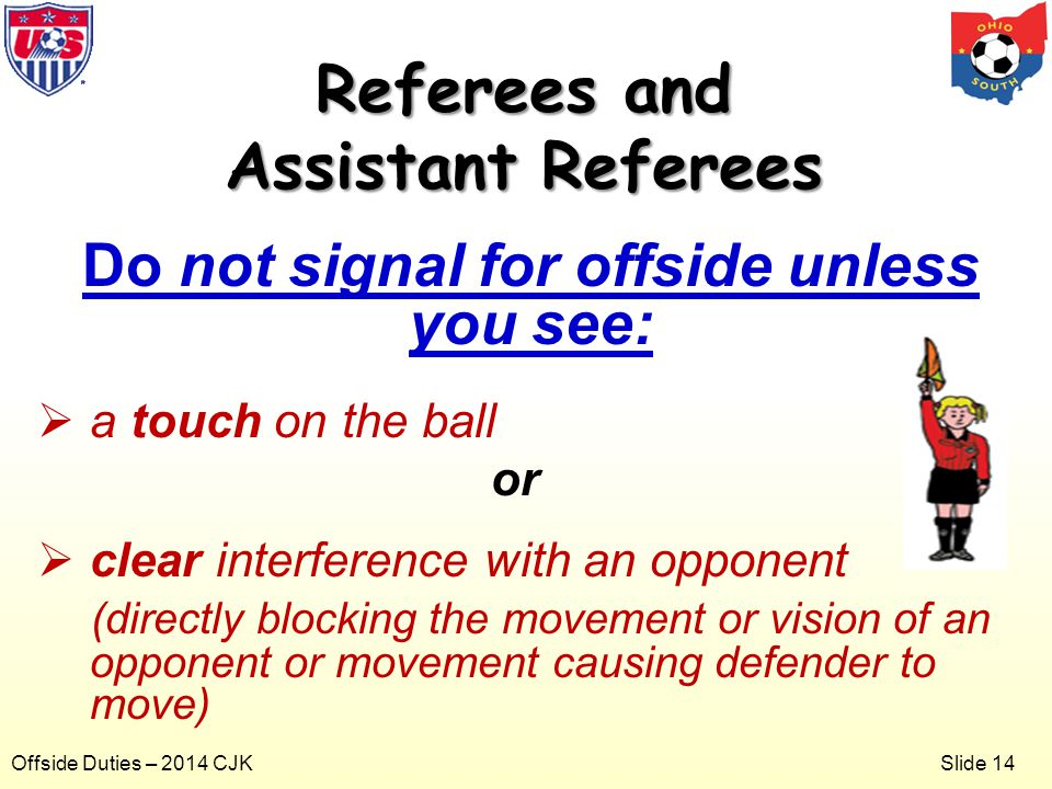 Slide 14 Offside Duties – 2014 CJK Do not signal for offside unless you see:  a touch on the ball or  clear interference with an opponent (directly blocking the movement or vision of an opponent or movement causing defender to move) Referees and Assistant Referees