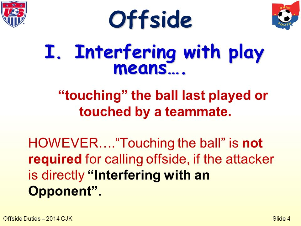 Slide 4 Offside Duties – 2014 CJK touching the ball last played or touched by a teammate.